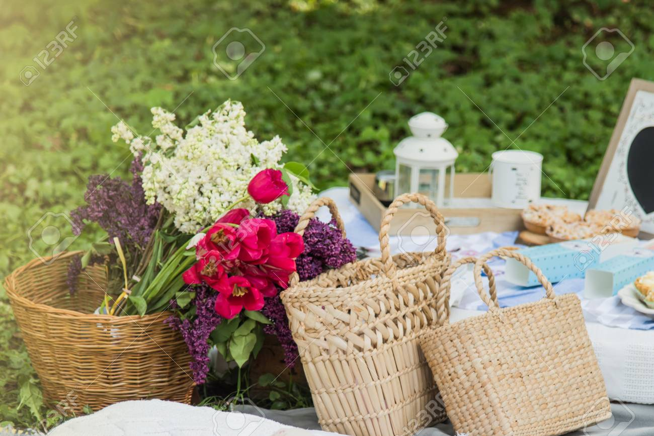 Picnic Decorations Cannotier Flowers Fruits Picnic At The Stock Photo Picture And Royalty Free Image Image 101478742