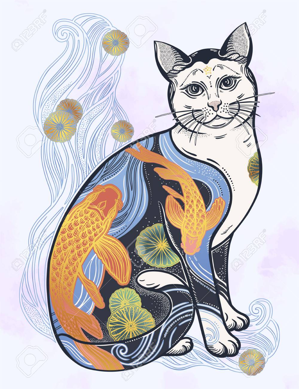 Happy Japanese folklore cat with traditional flower and fish