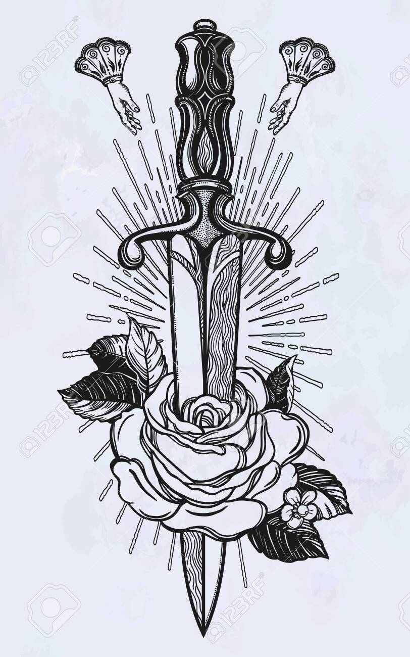 Traditional Tattoo Flash Rose With Knife Romantic Flesh Art Royalty Free Cliparts Vectors And Stock Illustration Image 124094270