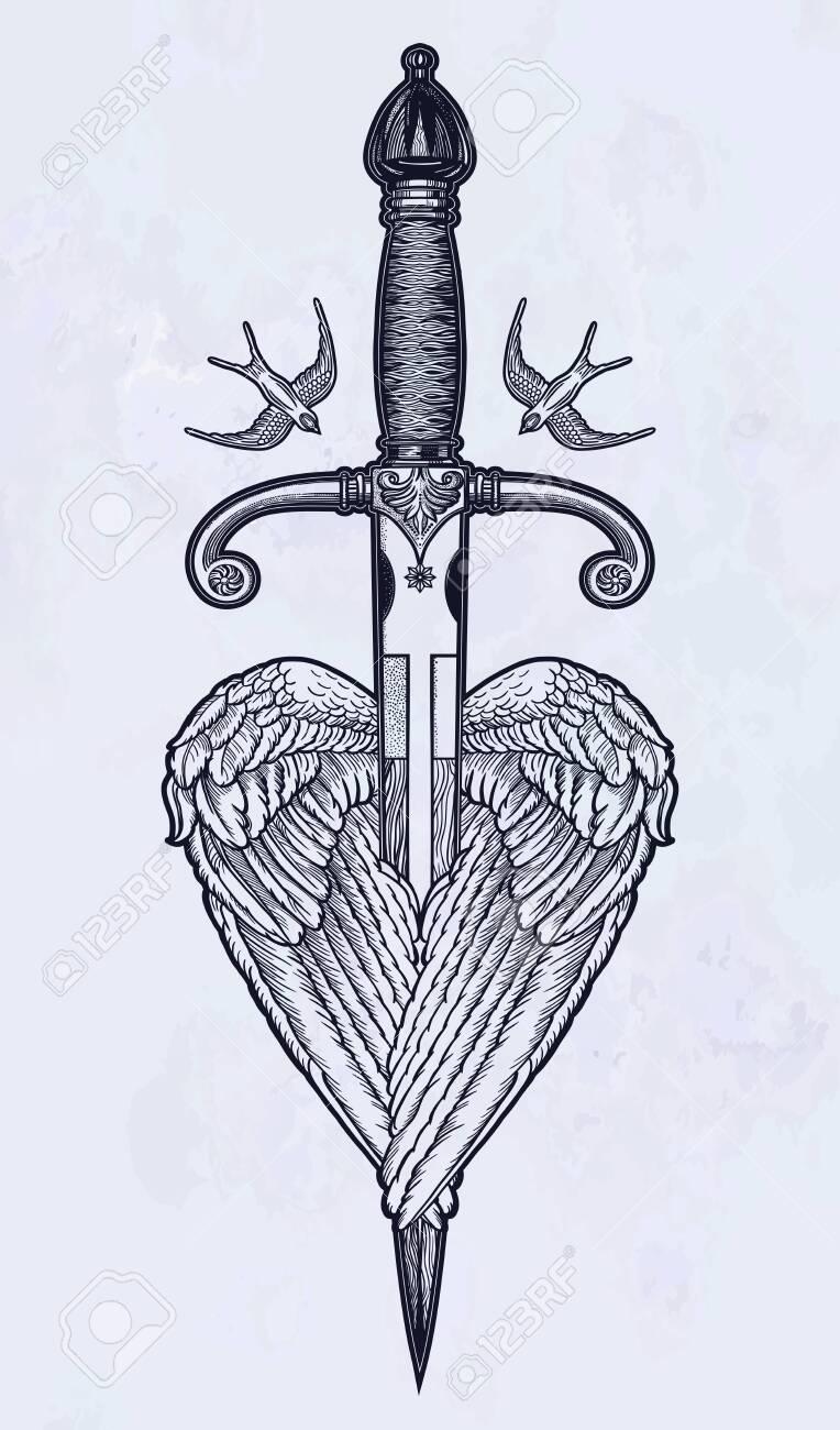 Calavera Tattoo Flash traditional tattoo flash wings with knife. romantic flesh art..