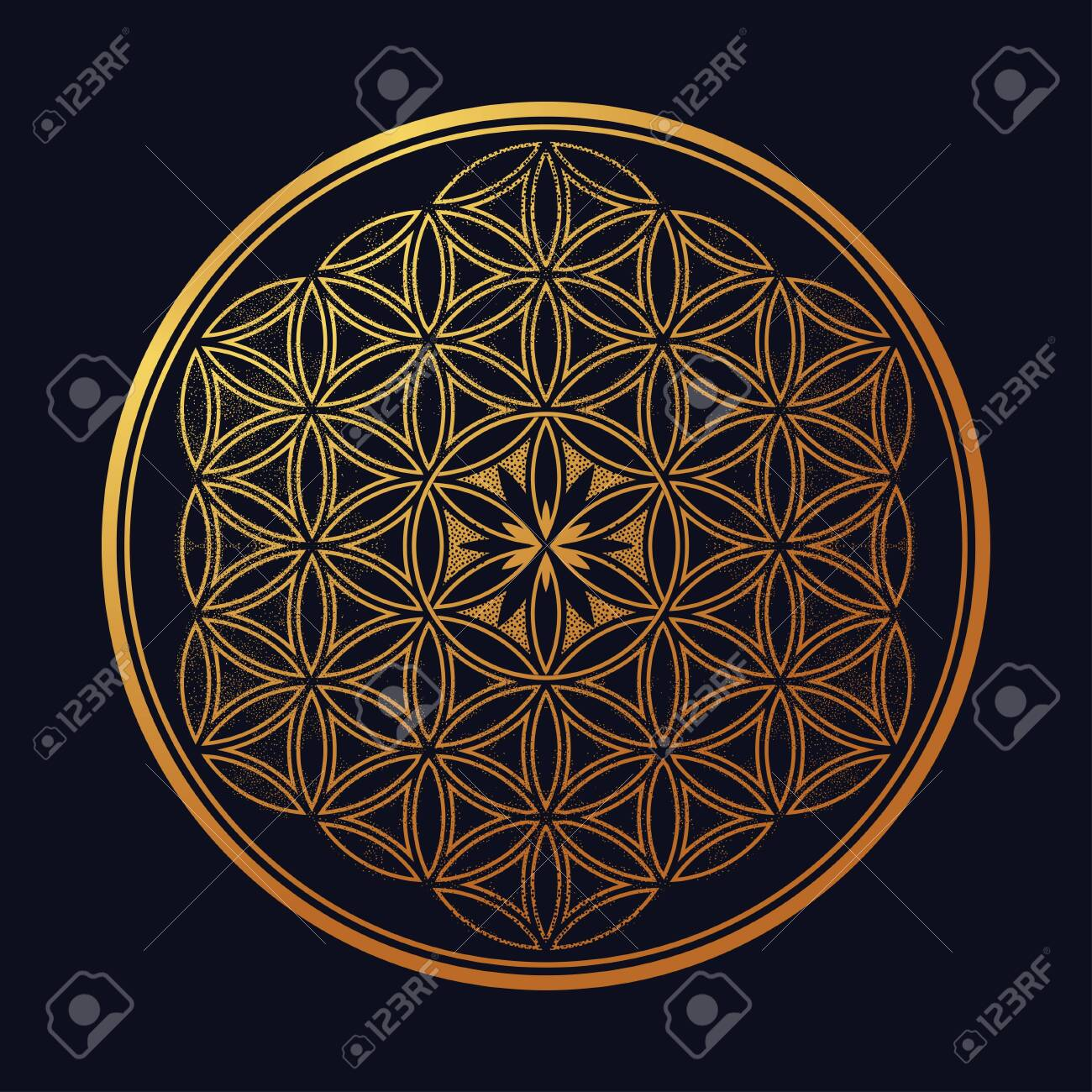 Flower of Life - intersecting circles forming. - 134792419