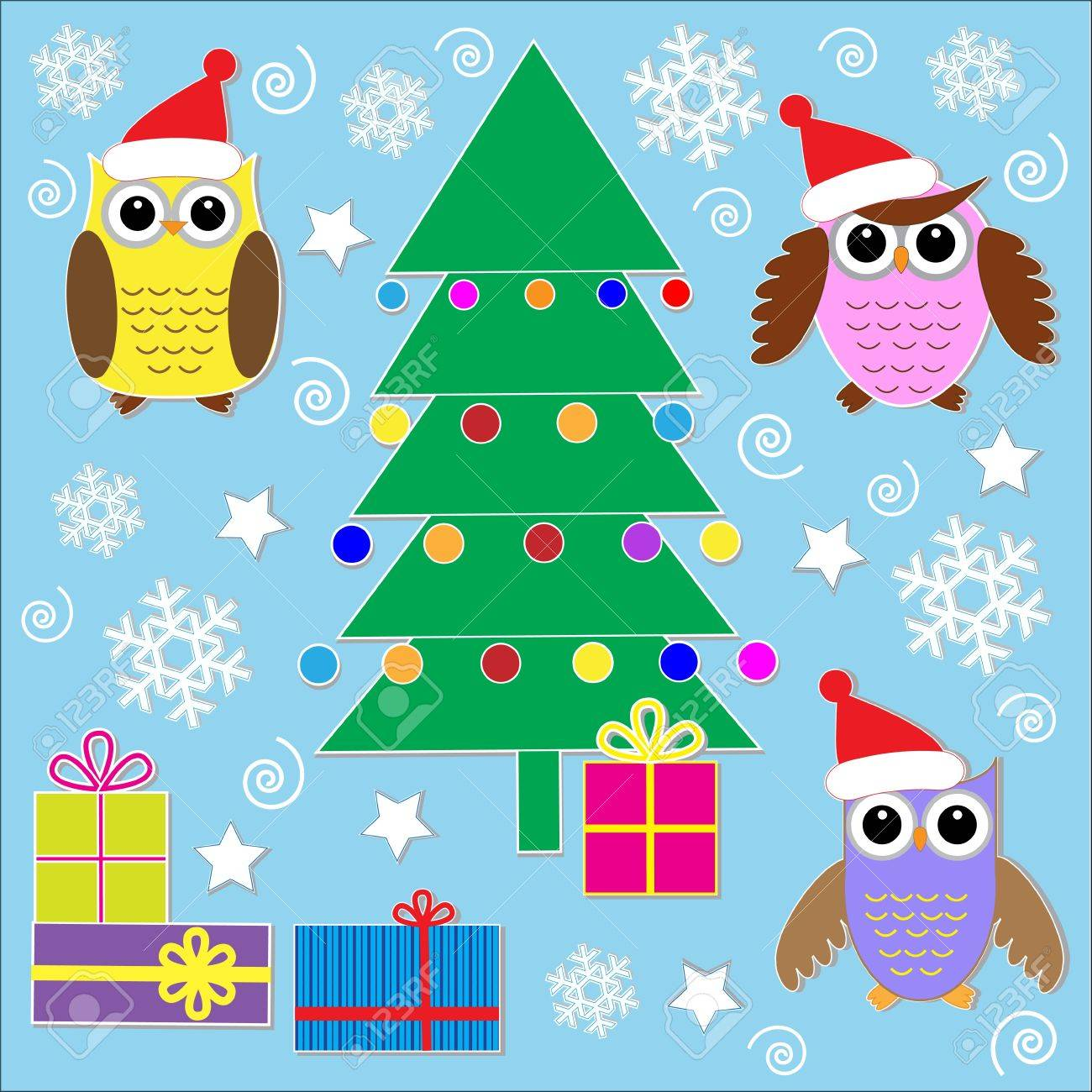 Cute Christmas stickers.Vector set Stock Vector - 11385970