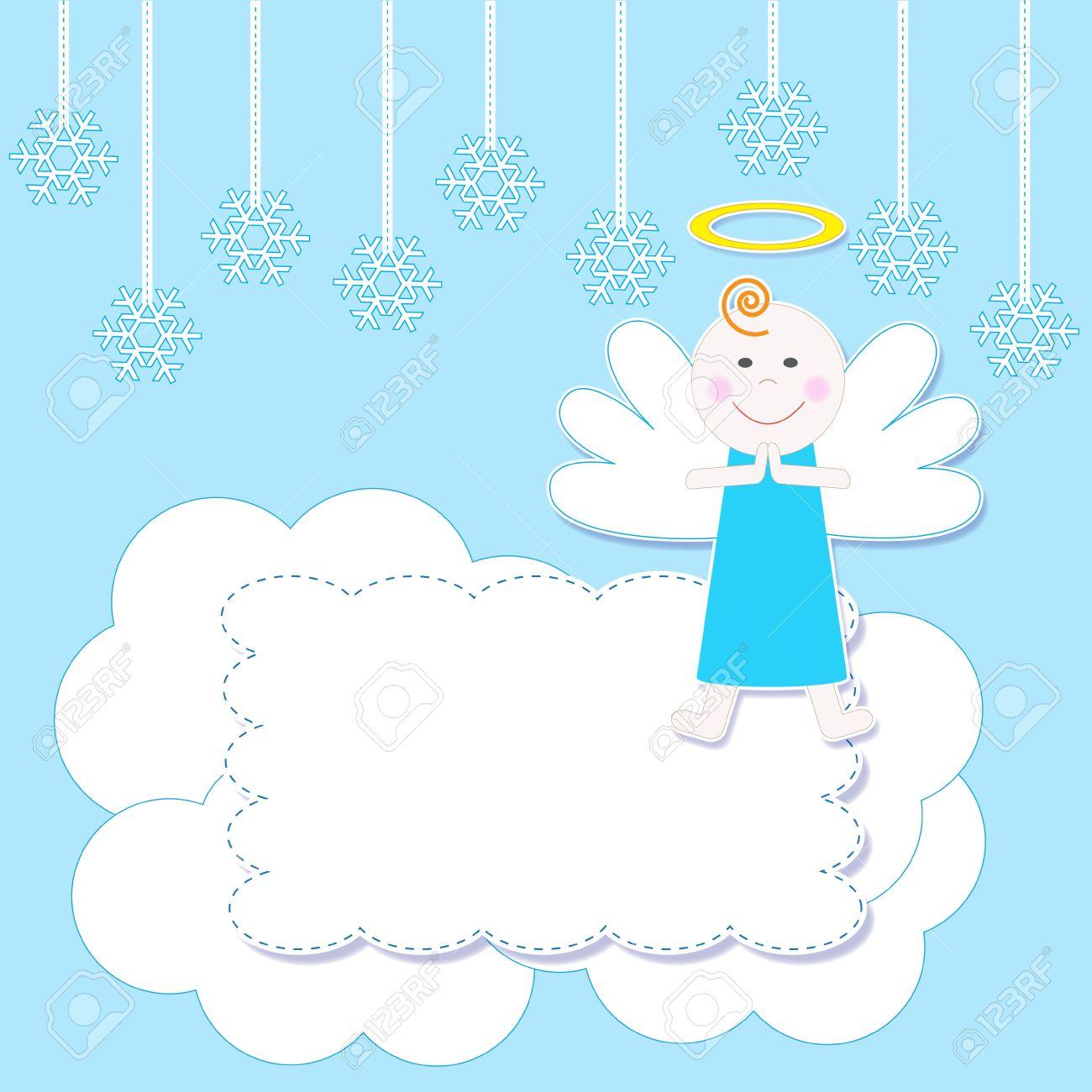 Marco Con Un Lindo Ejemplo De La Navidad Del Bebé Angel.Vector ...
