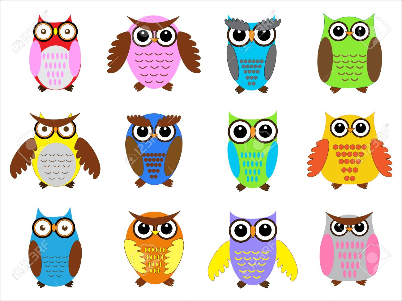set color owls vector illustration stock vector 11648192 - Pictures Of Owls To Color