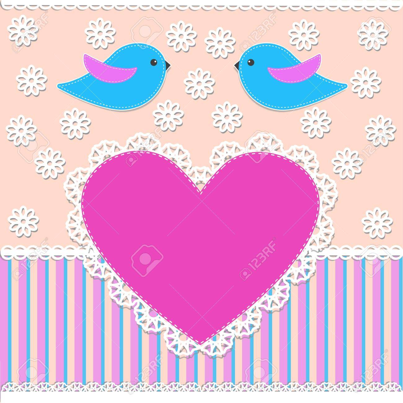 Greeting card with birds.Vector illustration in scrapbook style Stock Vector - 11648212