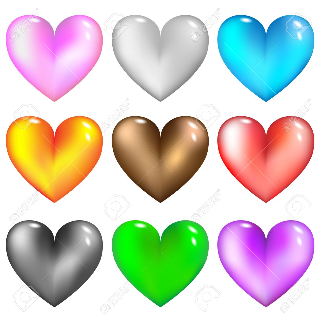 Colorful glass hearts icon for web.Vector set. Stock Vector - 11648216