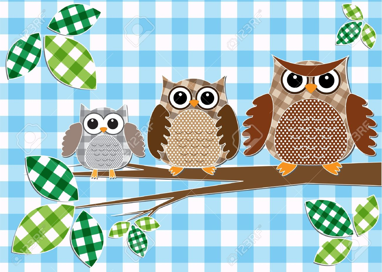 Cute family of owls.Vector textile stickers Stock Vector - 11935107
