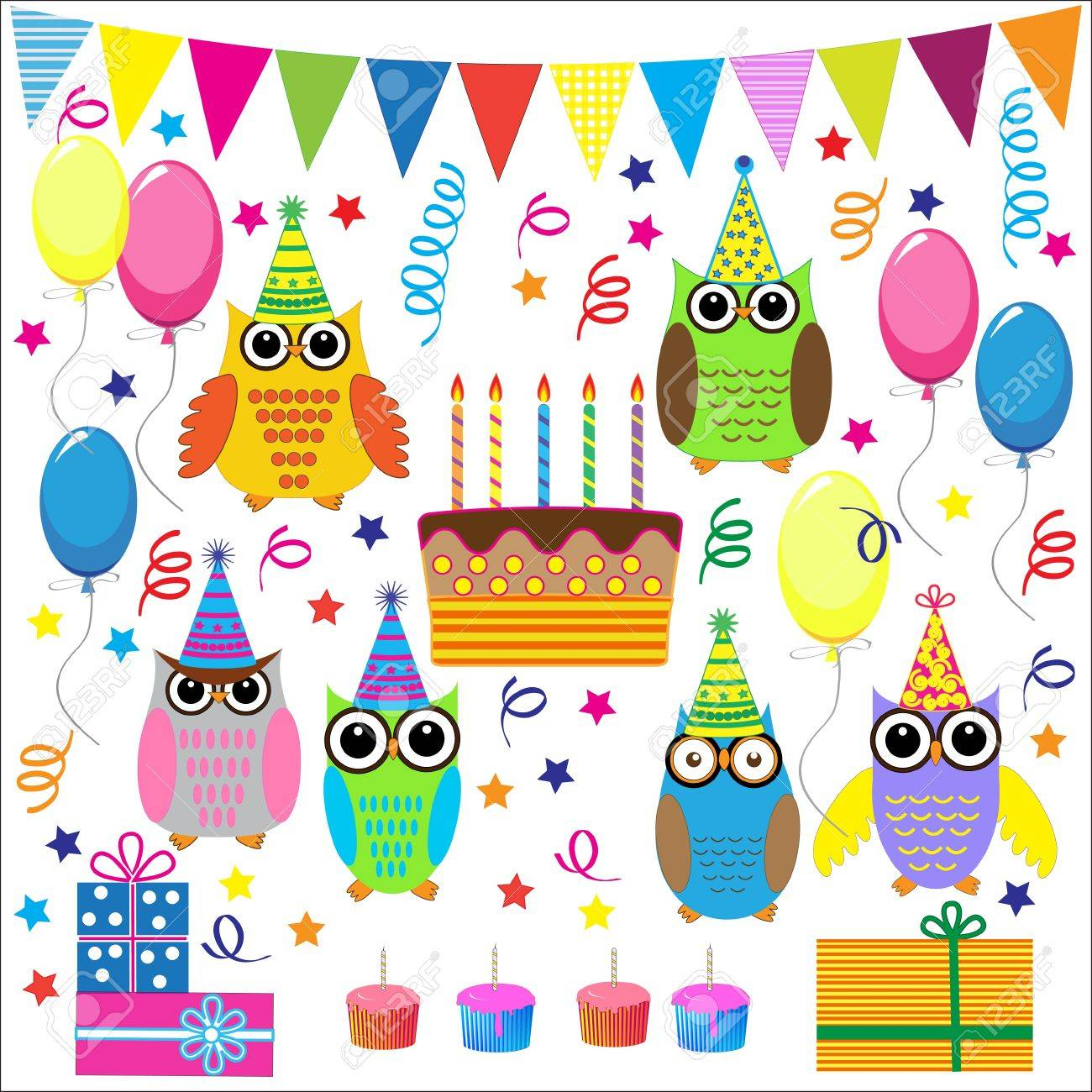 Birthday party elements with funny owls.Vector set Stock Vector - 11935108