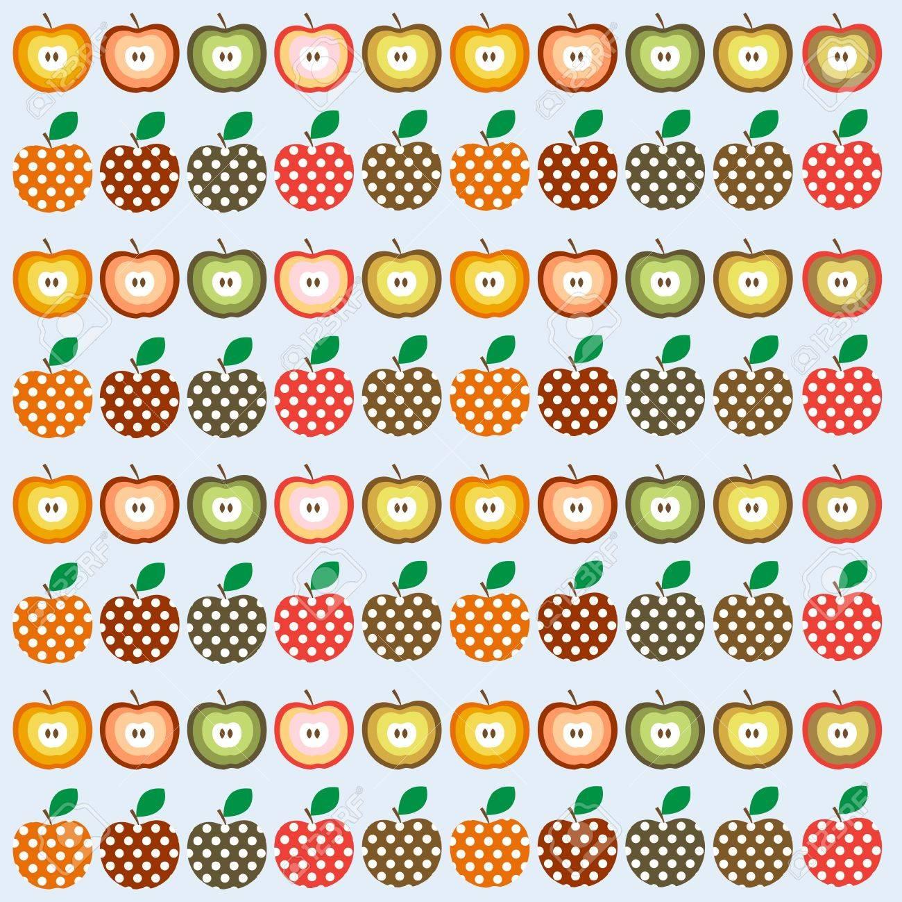 りんごとレトロなシームレスなイラスト パターンのイラスト素材ベクタ