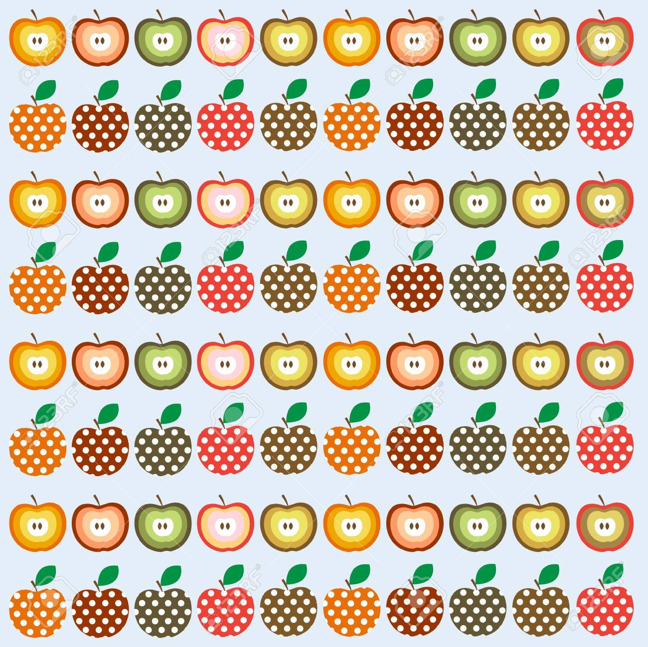 Retro seamless illustration pattern with apples Stock Vector - 12829293