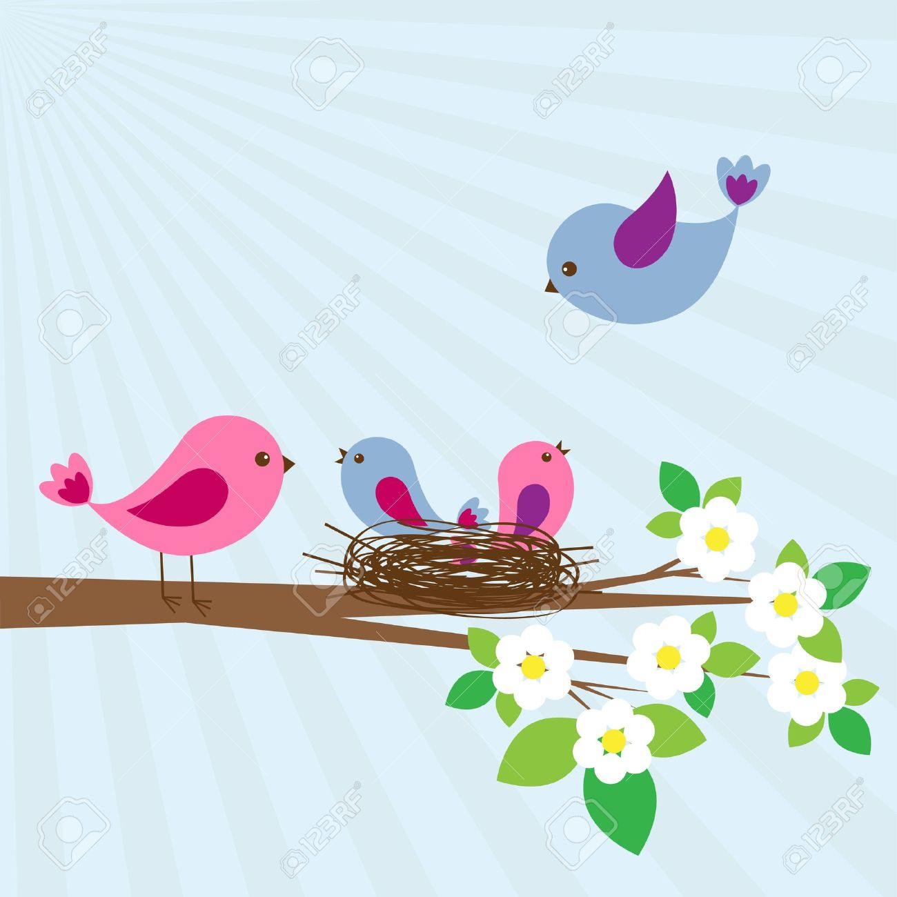 Family of birds in spring day Stock Vector - 12940276