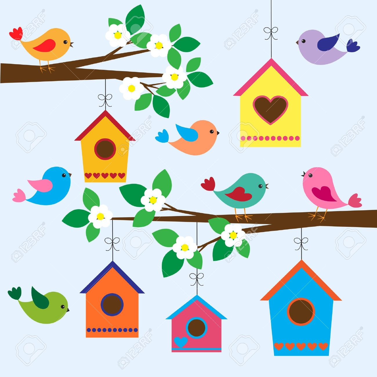 colorful birds and birdhouses in spring royalty free cliparts rh 123rf com birdhouse clip art free birdhouse clipart free
