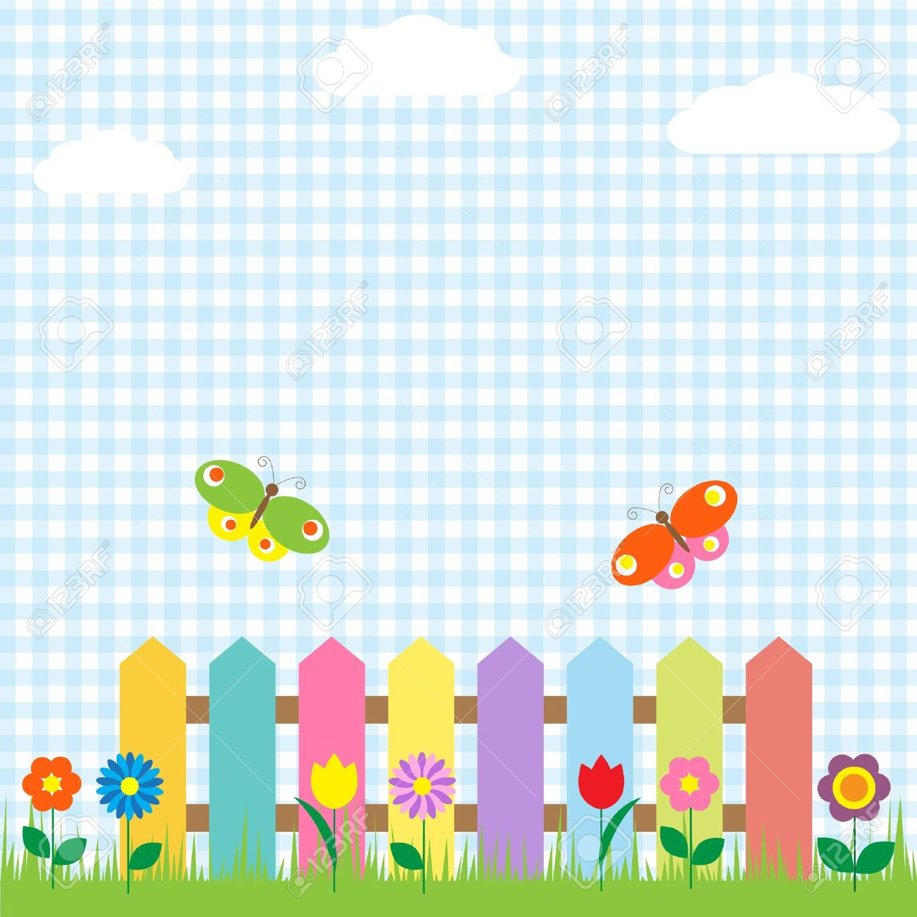 Colorful Fence With Flowers And Butterflies Royalty Free Cliparts