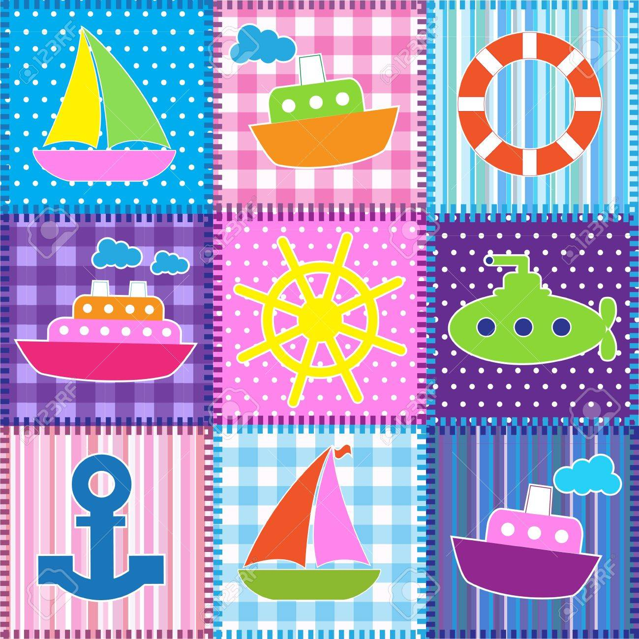 Patchwork in marine style.Seamless baby background Stock Vector - 13516759