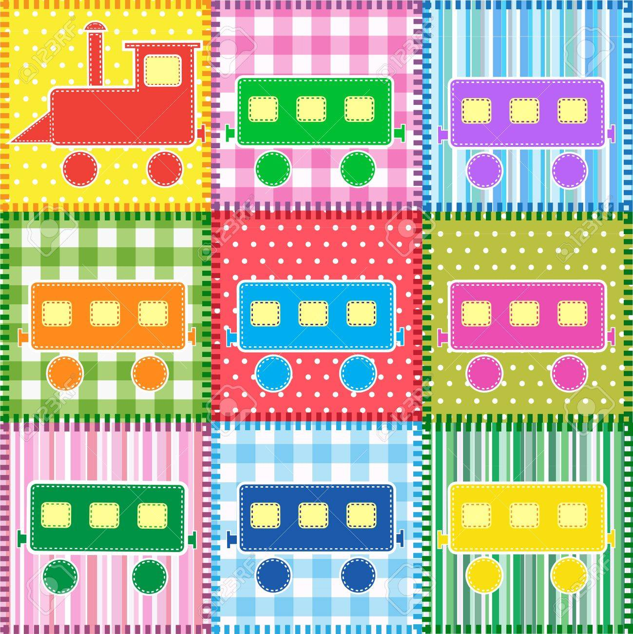 Patchwork with colorful train. Baby seamless background Stock Vector - 13747464