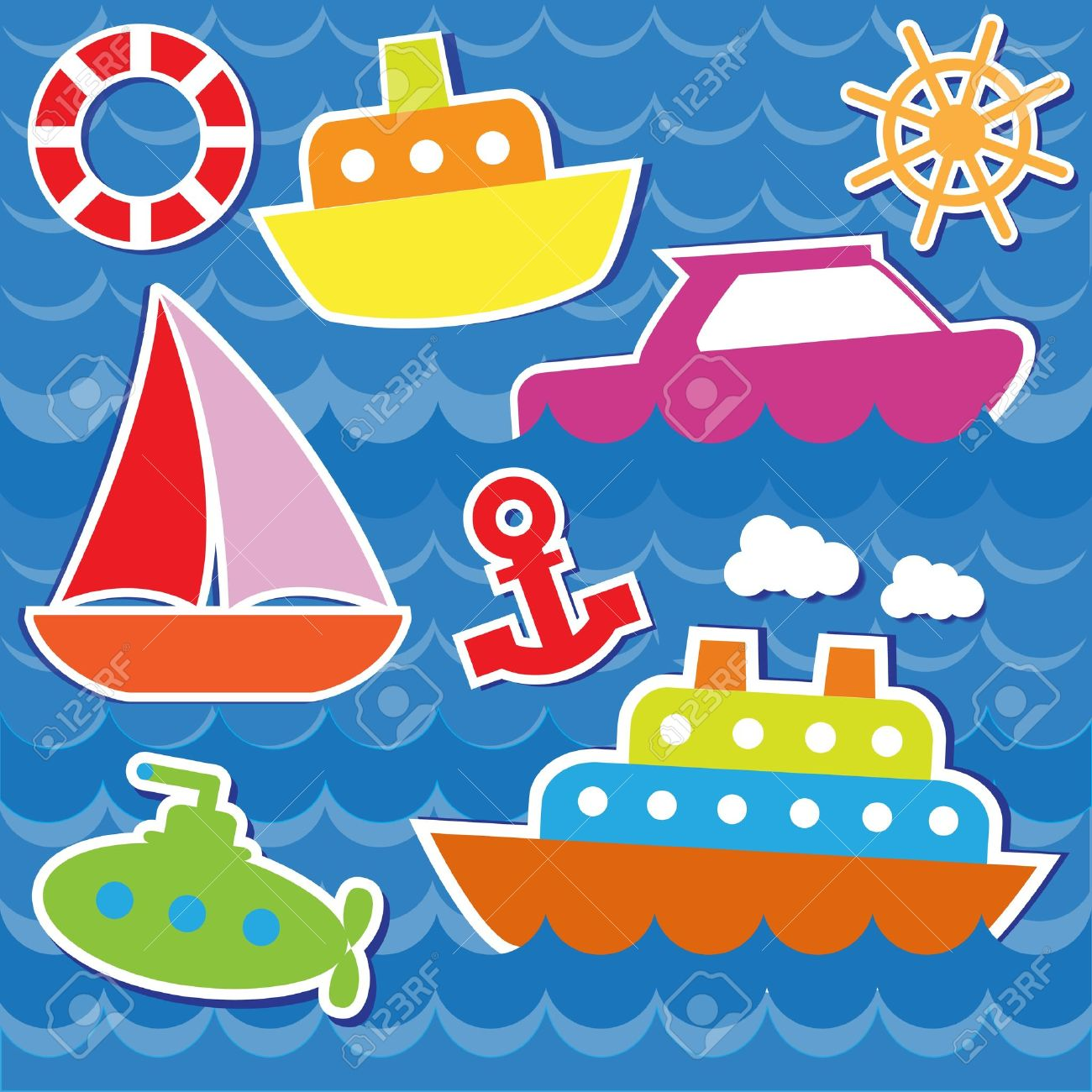 Marine transport stickers. Stock Vector - 13963318
