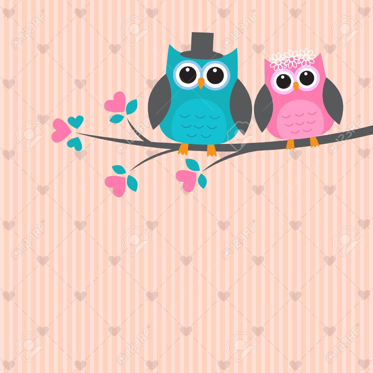 Two cute owls in love. Vector wedding card Stock Vector - 13963315