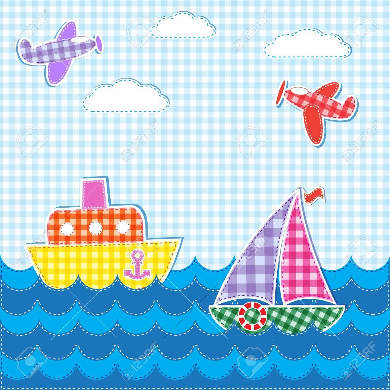 Baby background with aircrafts and ships. Vector textile stickers Stock Vector - 14125303