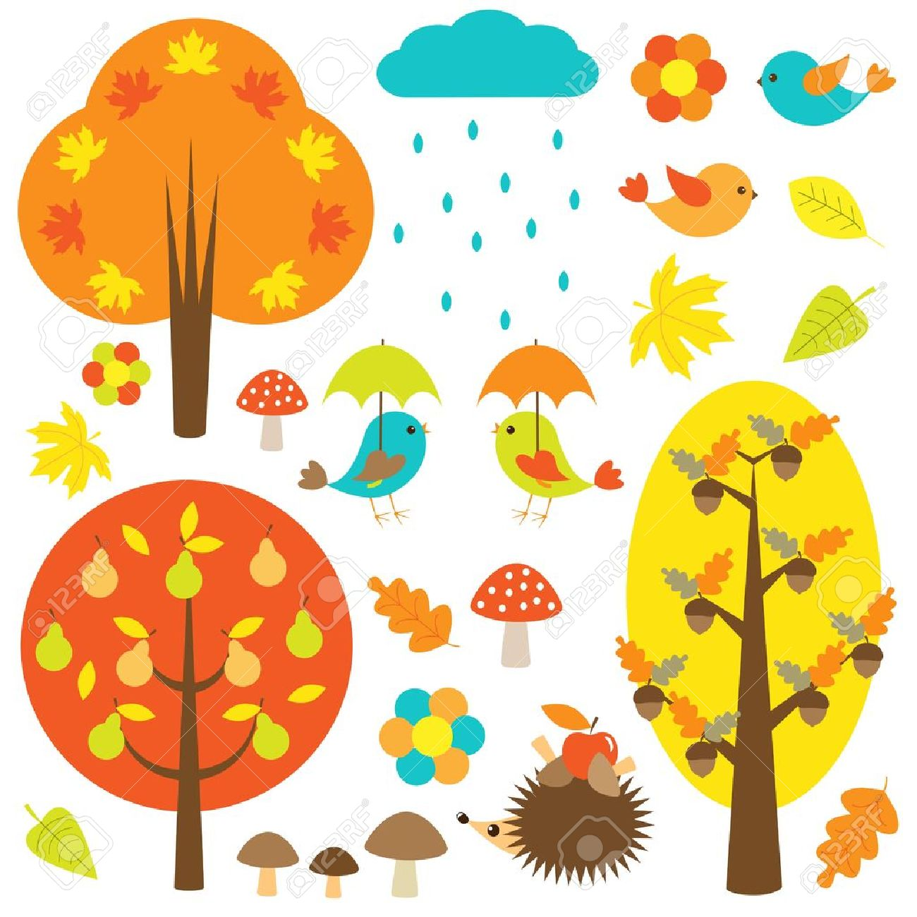 Birds and trees in autumn. Stock Vector - 14266256