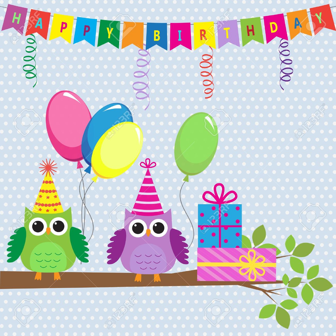 Birthday Card With Cute Owls Royalty Free Cliparts Vectors And – Vector Birthday Cards