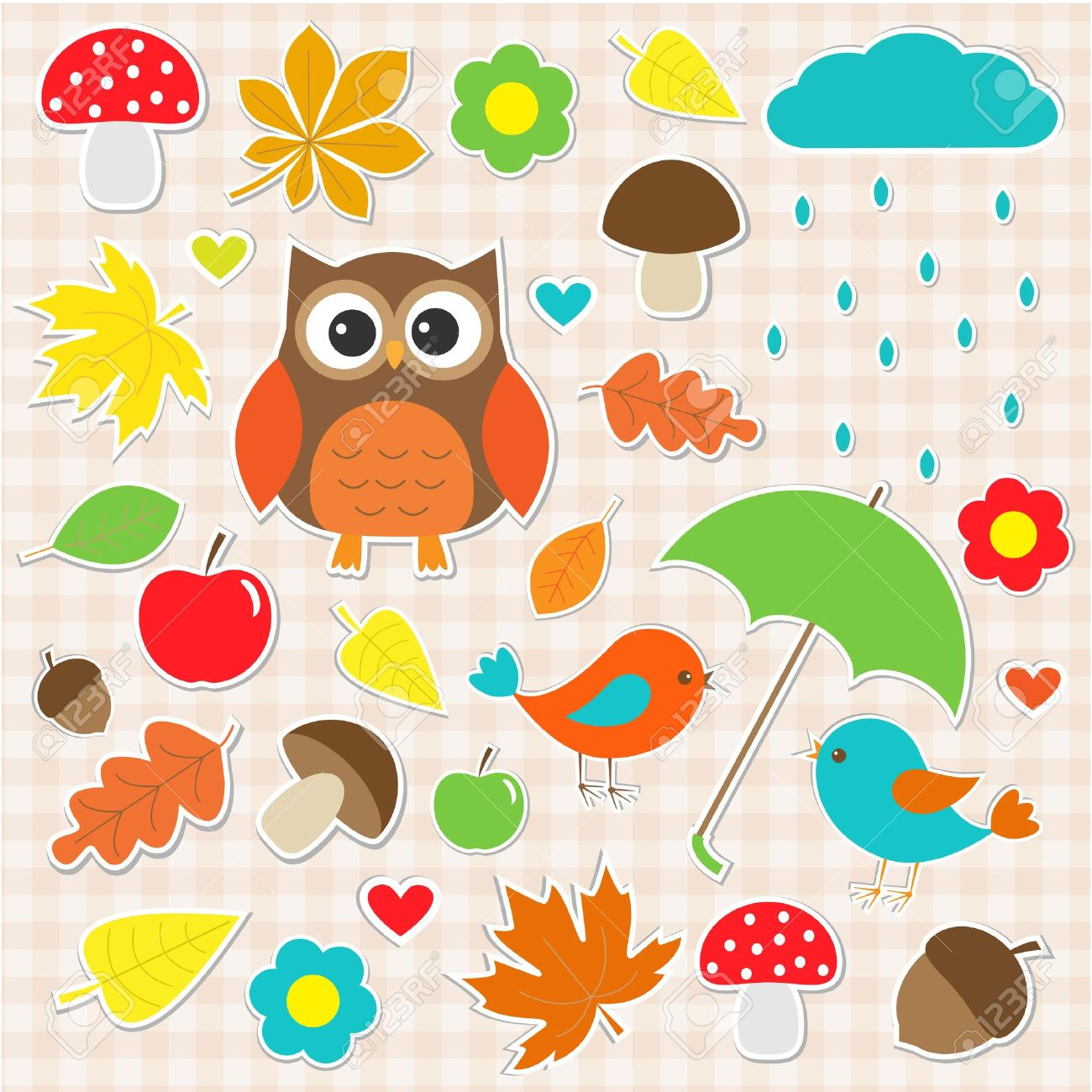 set of autumnal stickers Stock Vector - 14799748