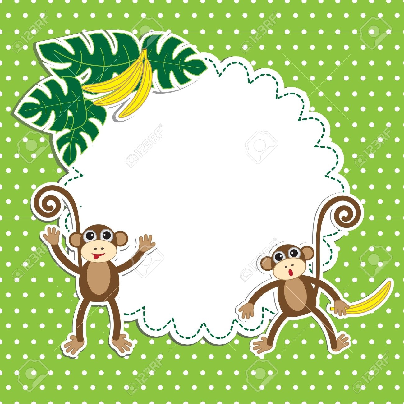frame with funny monkeys stock vector 15191668 - Monkey Picture Frame