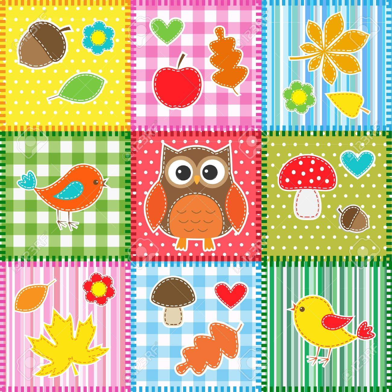 Autumn background with leaves,acorns,birds and owl Stock Vector - 15028327