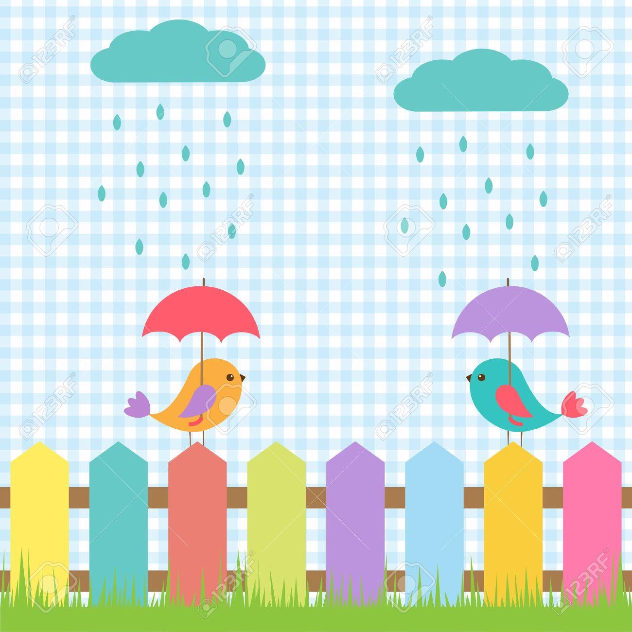 Background with birds under umbrellas Stock Vector - 15028349