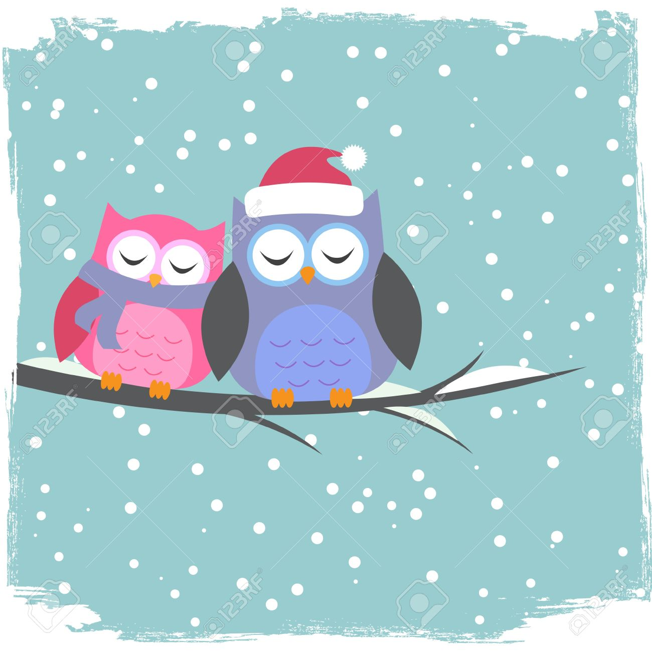 Winter card with cute owls Stock Vector - 16041963