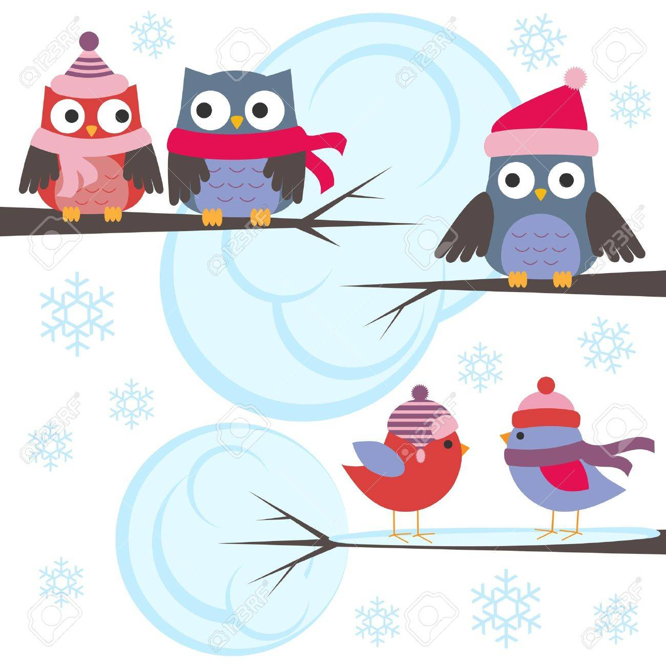 Owls and birds in winter forest. Vector set Stock Vector - 16255068
