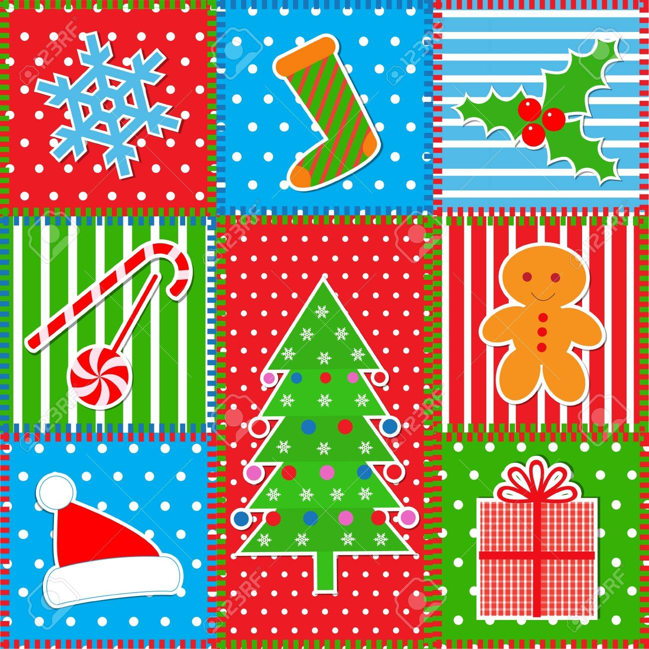 Christmas patchwork background Stock Vector - 16578903