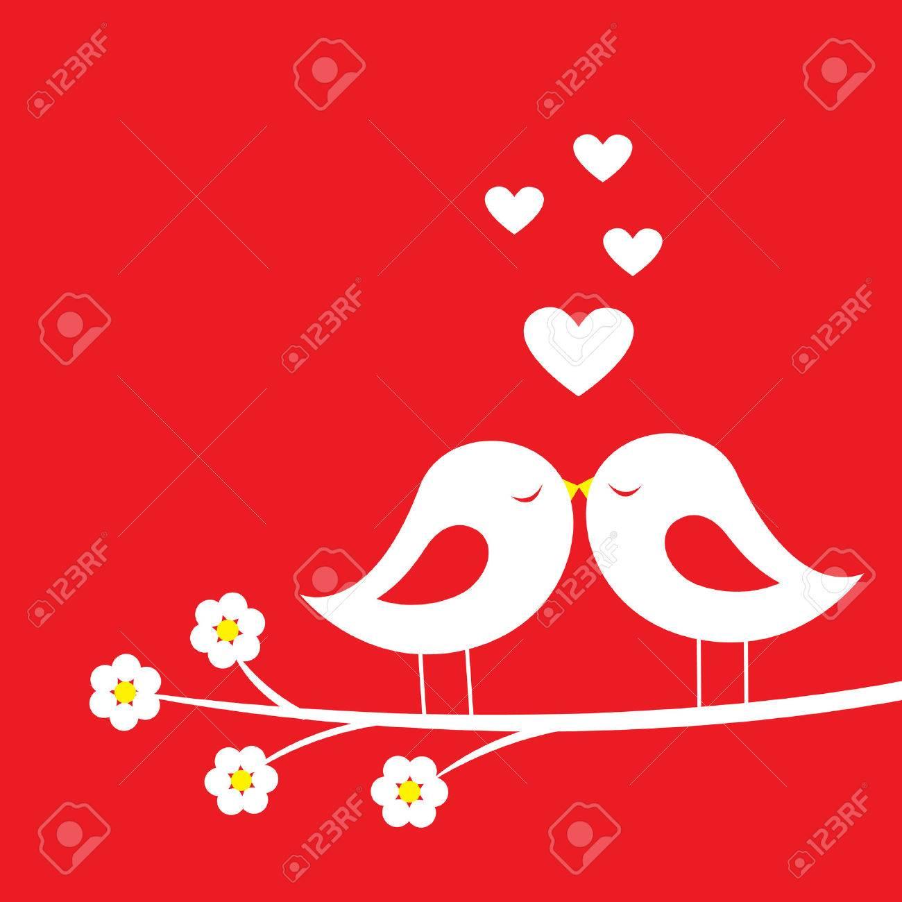 Kuss Der Vogel Romantische Karte Fur Den Valentinstag Vektor