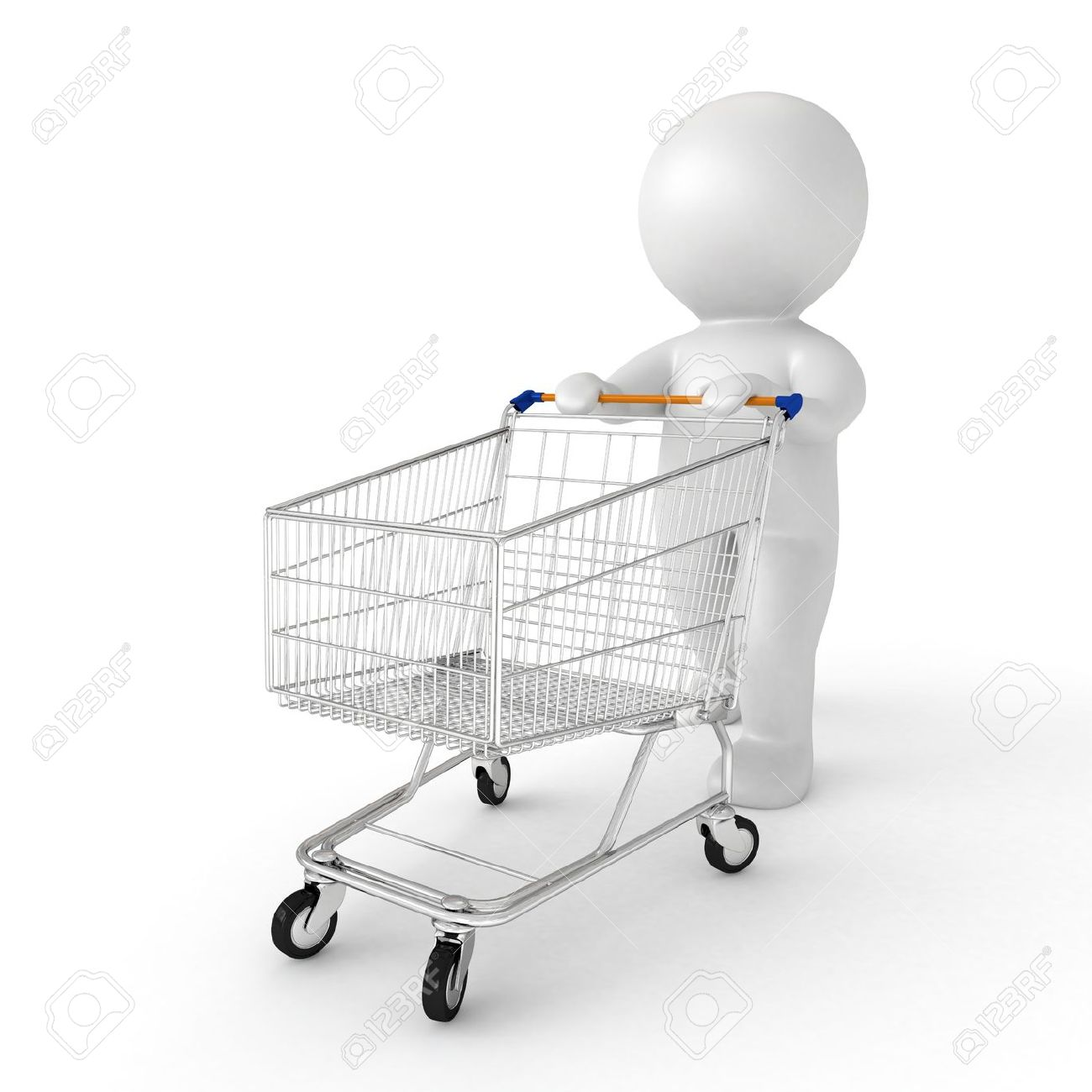 3d human with shopping cart - from my 3d human collection Stock Photo - 15664529