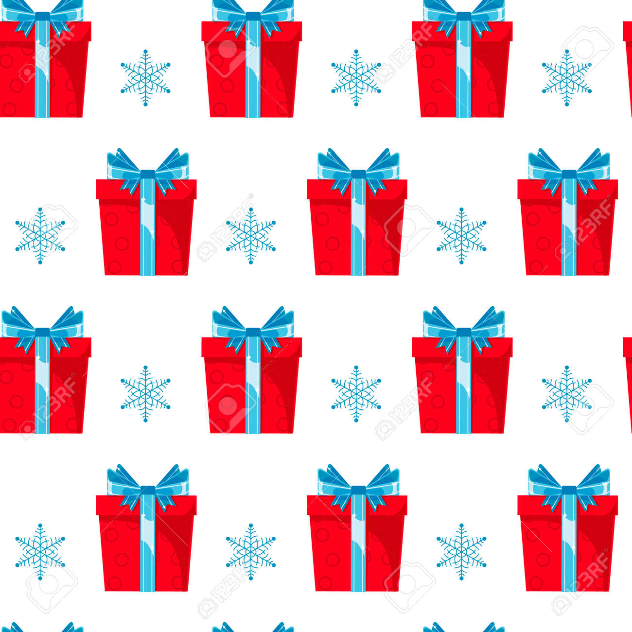 Seamless pattern red gift boxes with blue ribbon and bow on white background. Christmas, surprise, anniversary concept for wrapping, wallpaper, backdrop. - 155491400