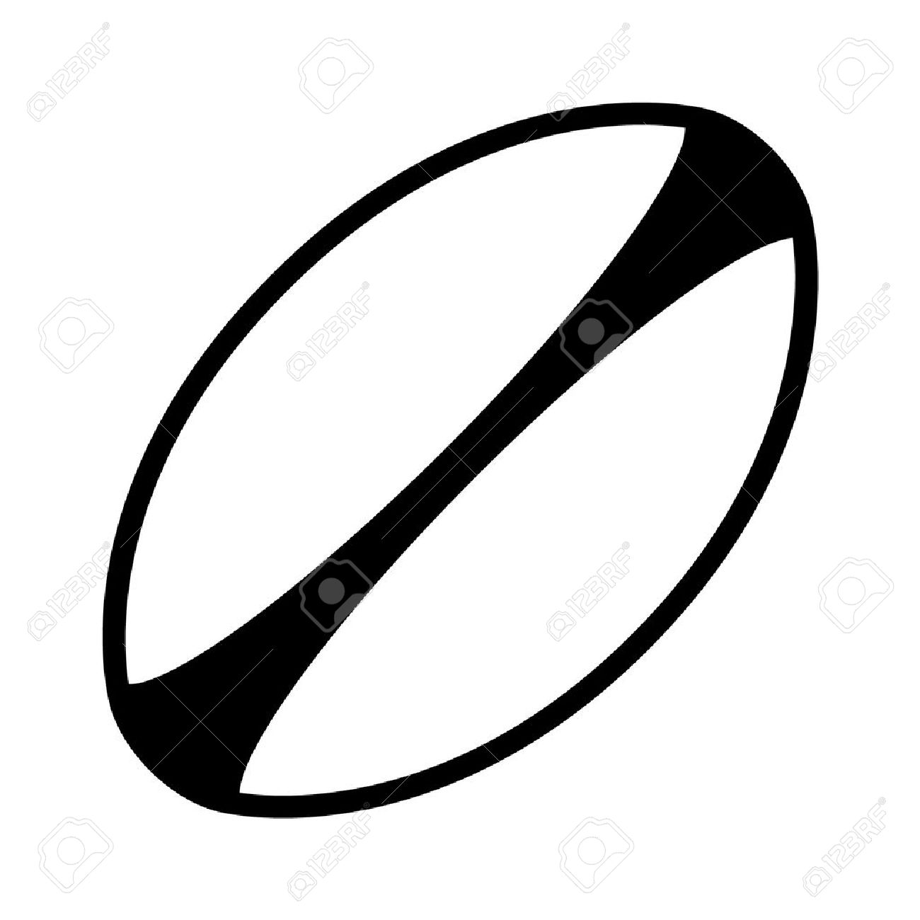 white rugby ball with stripes line art icon royalty free cliparts rh 123rf com rugby ball clipart black and white rugby league ball clipart