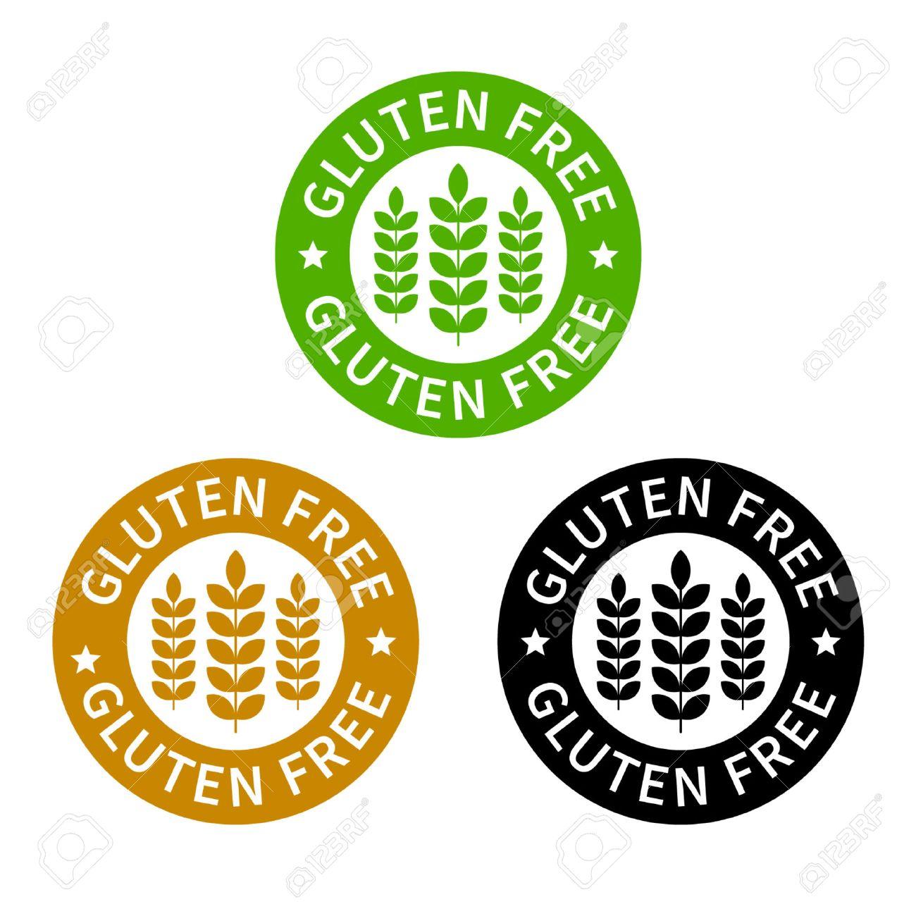 No gluten gluten free food label or sticker flat icon