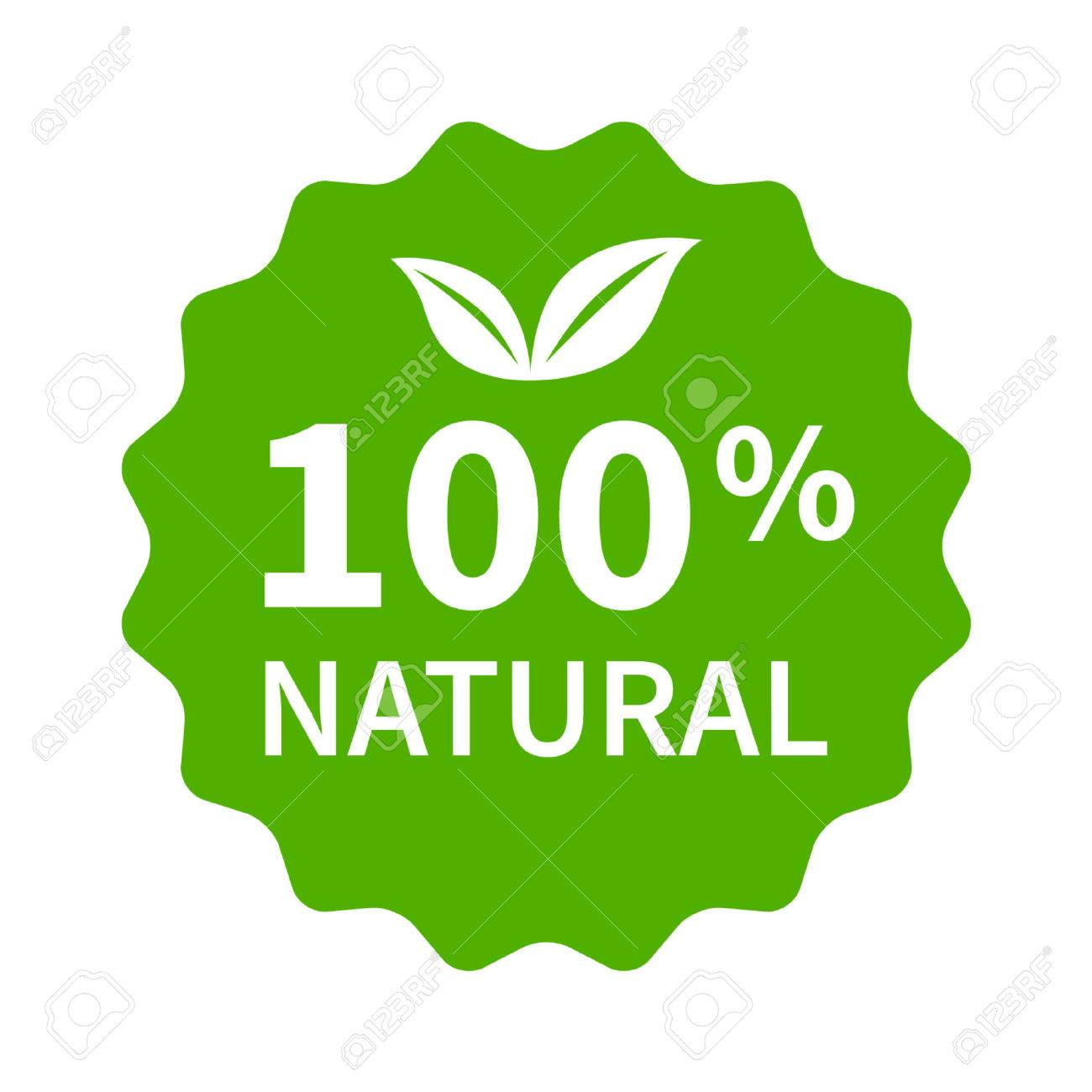 100 all natural stamp label sticker or stick flat icon for products and websites