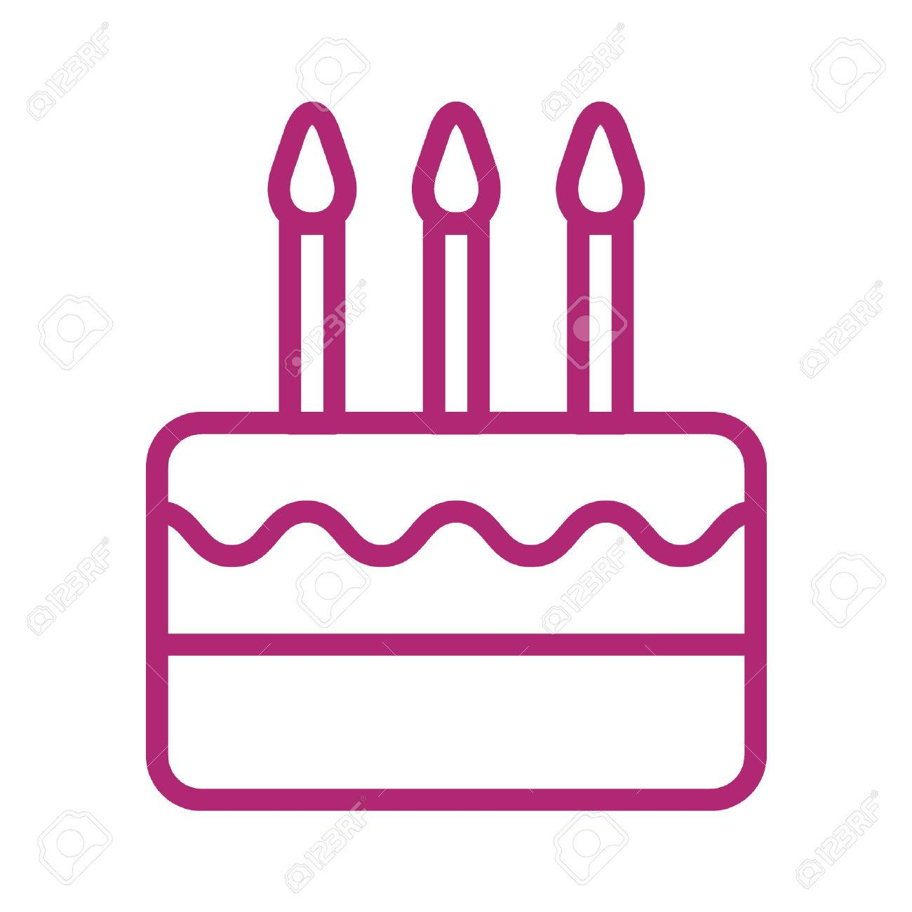 Birthday Celebration Cake With Candles Line Art Icon Royalty Free