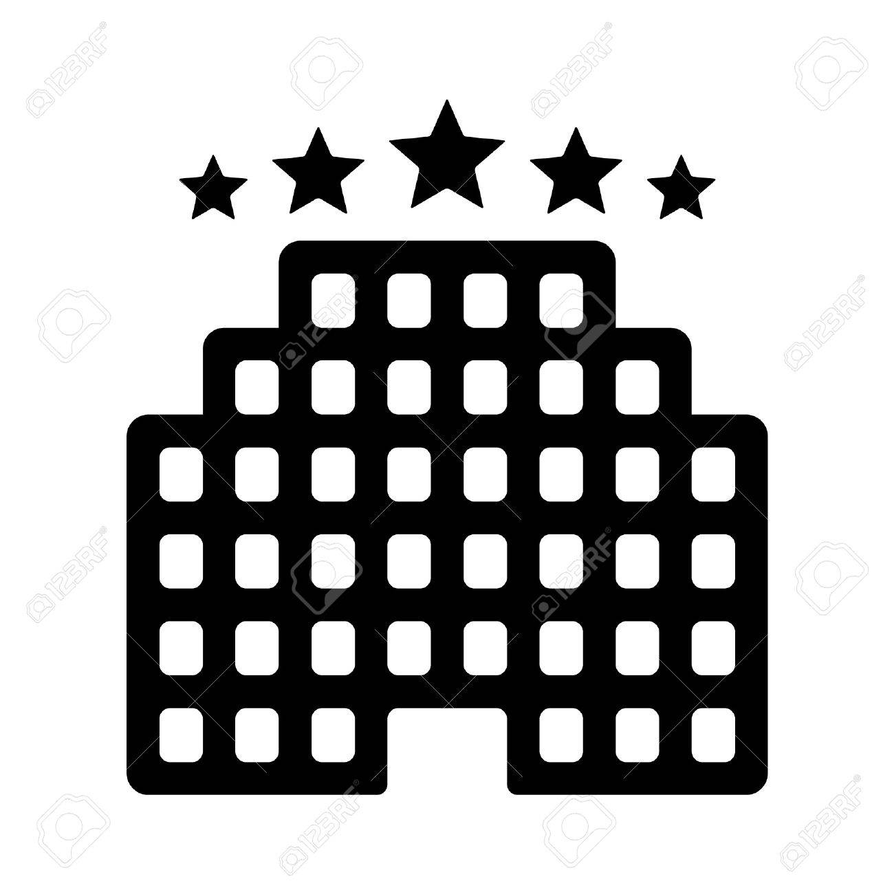 Five Star Luxury Hotel Flat Icon For Apps And Websites Stock Vector