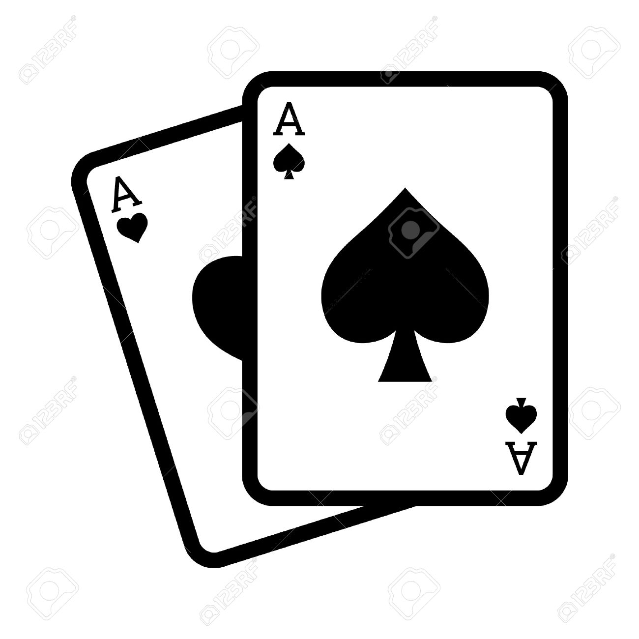 blackjack poker cards with aces line art icon royalty free cliparts rh 123rf com playing cards vector file playing cards vector simple