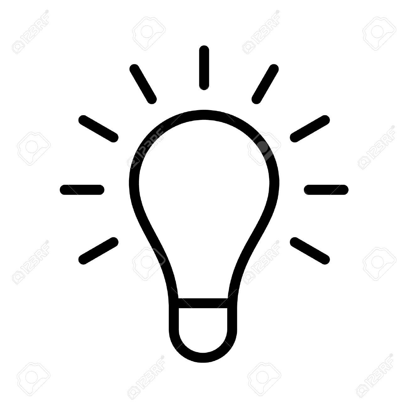 Bright Idea Light Bulb Line Art Icon For Apps And Websites Stock Vector