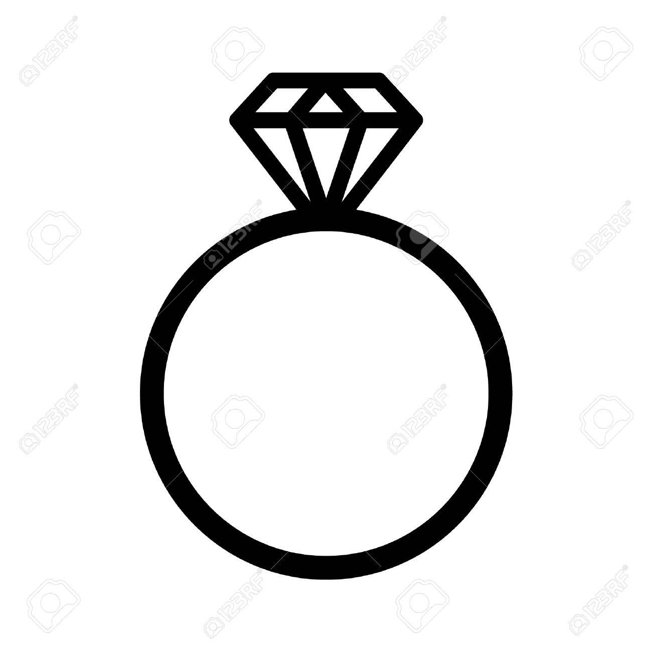 Diamond Engagement Ring Line Art Icon For Websites Royalty Free