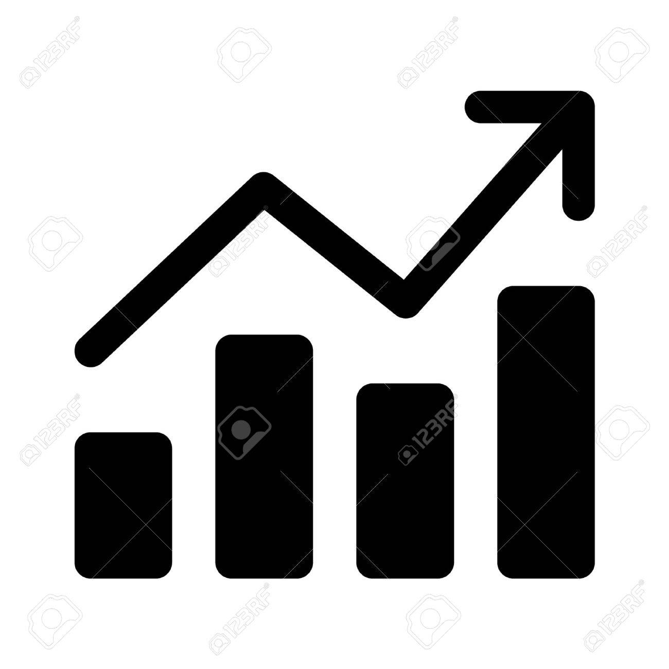 Growth chart graph flat art icon for apps and websites - 42560390