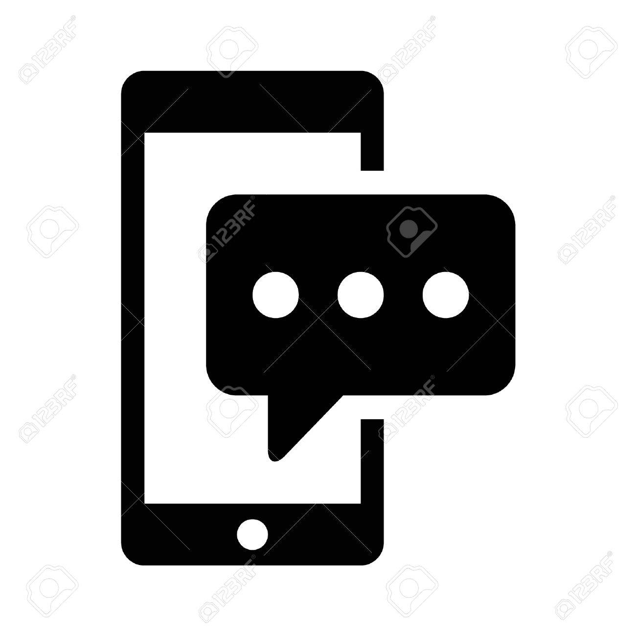SMS phone text message flat icon for apps and websites