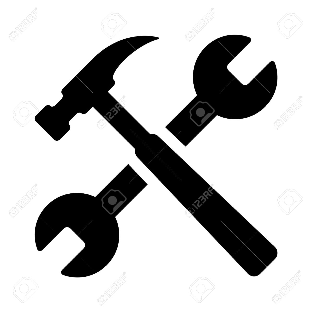 Hammer And Wrench Repair Tools Flat Icon For Apps Royalty Free
