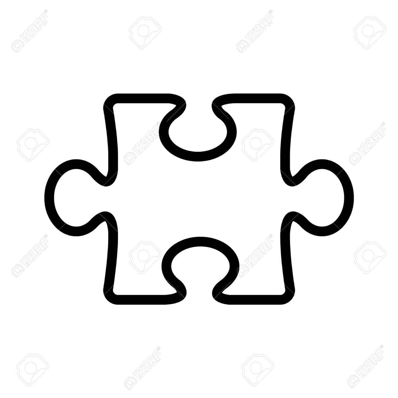 Puzzle piece line art icon for apps and websites - 42620734