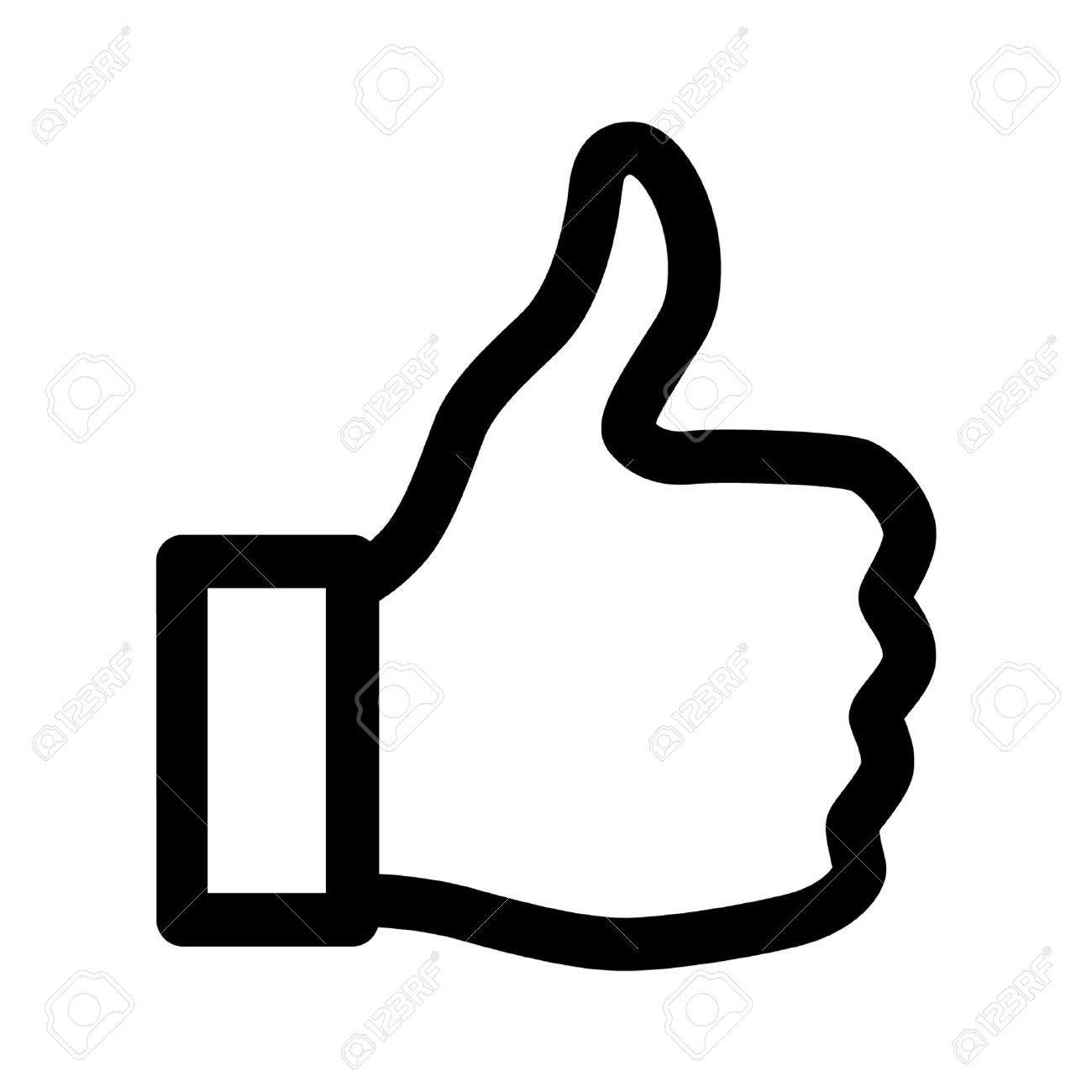 thumbs up like line art icon for apps and websites royalty free