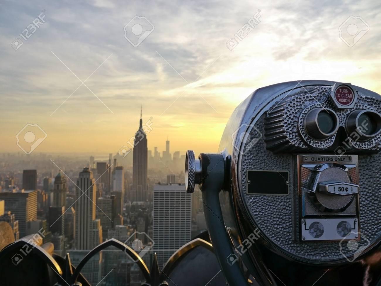 Tower Viewer Telescope Binoculars Over Looking The New York City ...