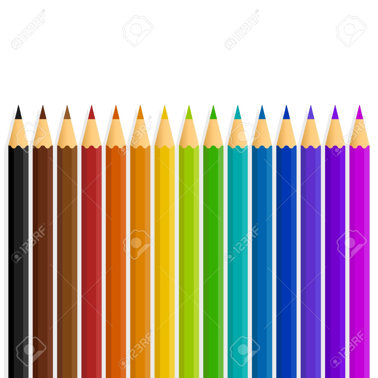 Rainbow colors in order pictures - A Straight Line Of Vector Rainbow Color Colour Pencils Isolated On A White Background Stock Vector