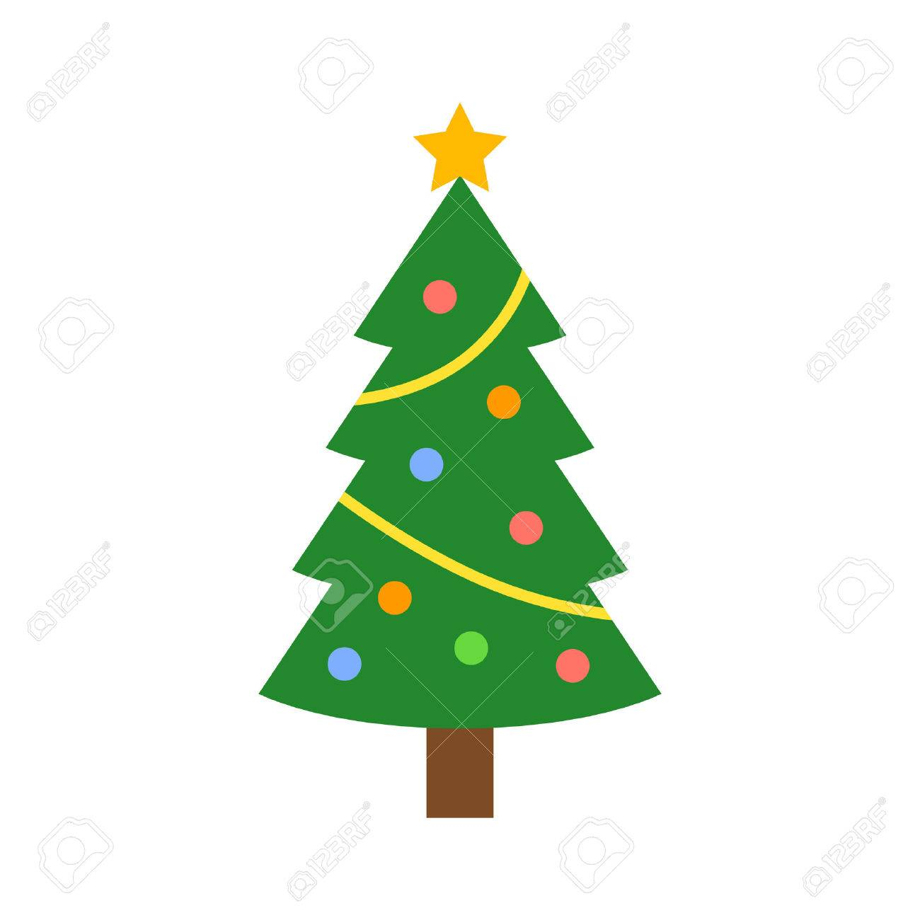 Christmas Tree With Decorations And Star Flat Icon For Apps And